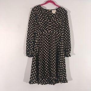Kate Spade Black Beige Polka Dot A-Line Dress 10